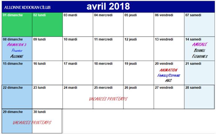 CALENDRIER AKC Avril 2018