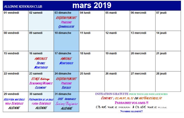 akc calendrier Mars 2019
